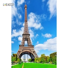 Laeacco Blue Sky Eiffel Tower Paris Scenery Portrait Baby Photography Backgrounds Custom Photographic Backdrops For Photo Studio
