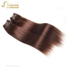 Joedir-cabello liso brasileño precoloreado, paquete de 4 Uds., extensiones de cabello humano Yaki brasileño de 190 gramos, Color ondulado 2 # no Remy