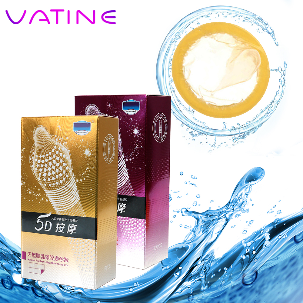 VATINE Random 12 piece/Box Big Particle Contraceptives 5D Thread Ribbed G Point Latex Condoms for Men Sex Products Condom image
