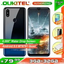 OUKITEL C15 פרו + 6.088 3 GB 32GB MT6761 מים זרוק מסך 4G Smartphone C15 Pro + טביעת אצבע פנים מזהה 2.4G/5G WiFi נייד טלפון