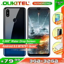 Oukitel c15 pro + smartphone, 6.088 , 3gb e 32gb, mt6761, tela water drop de 4g, c15 pro + identificação facial 2.4g/5g wifi telemóvel