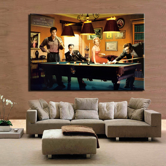 Elvis Presley, Humphrey Bogart, Marilyn Monroe & James Dean Playing Billiard 2