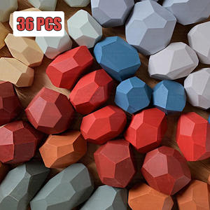 Rainbow Toy Building-Block Educational-Toy Stacking-Game Jenga Gift Colored-Stone Wooden