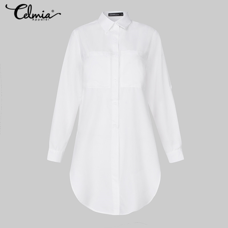 11 Colors Celmia Elegant Long Sleeve White Blouse Women Shirts Office Ladies Work Wear Turn Down Collar Womens Tops And Blouses
