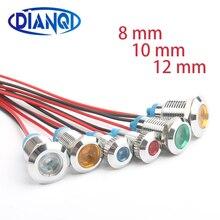6mm 8mm 10mm yeni tip metal göstergesi pirinç nikel kaplama led ışık lamba 220V 12V 3V 5V 6V araba için ışık ve anahtarları