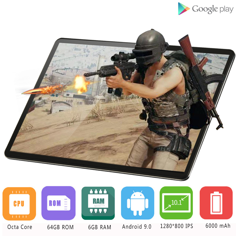 10inch Tablet OS Android 9.0 6GB-RAM Super-Tempered Octa-Core Glass PC 64GB IPS 1280--800