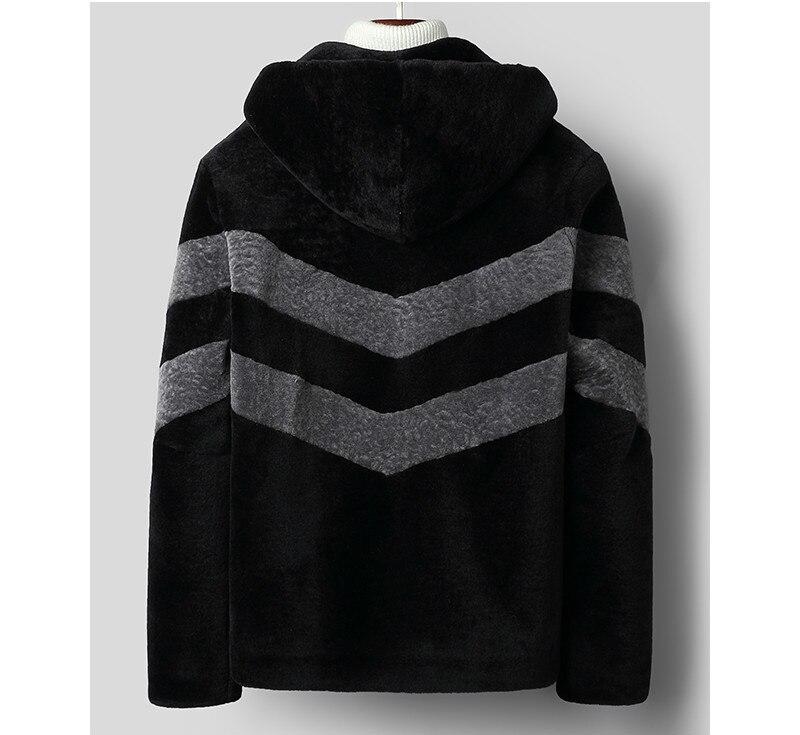 209 New Real Fur Coat Men Autumn Winter Sheep Shearing Wool Jacket Hooded Korean Men's Wool Fur Coats C-01-1823 KJ3304