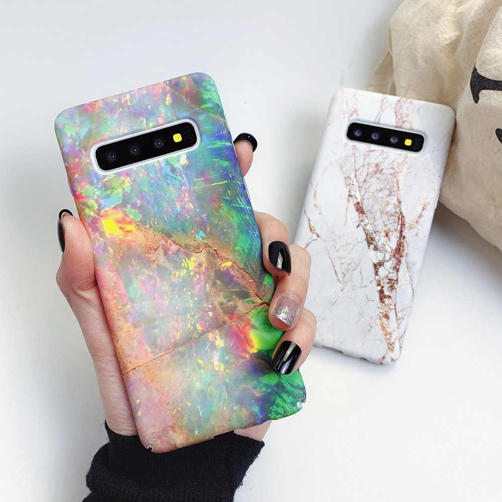 Suyacs Glassic Vintage Marmer Phone Case untuk Samsung S10 Plus S10e S8 S9 Plus S7Edge PC Hard Matte Full Bady back Cover Coque