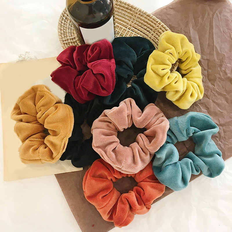 Fashion Velvet Scrunchie Elastic Hair Bands For Women Girls ponytail Holders Scrunchie Soft Hair Ties Hair Accessories Headwear