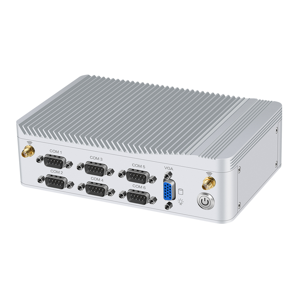 Embedded Mini PC Intel Celeron J1900 Processor 8*USB 6*RS232 Dual Gigabit Ethernet HDMI VGA WiFi 4G LTE Windows Linux Fanless