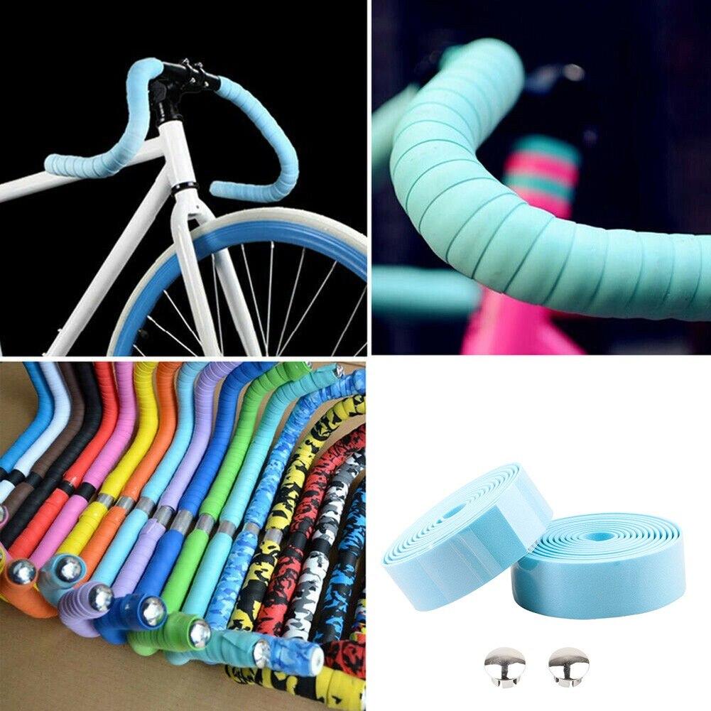 Road Bike Cycle Bicycle Handlebar Cork Bar Grip Ribbon Wrap Tapes 2 Bars Plugs