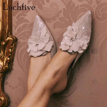 Summer Slippers Bridal-Shoes Pointed-Toe Pink Sequined Appliqued Mules Flat Dress Heel