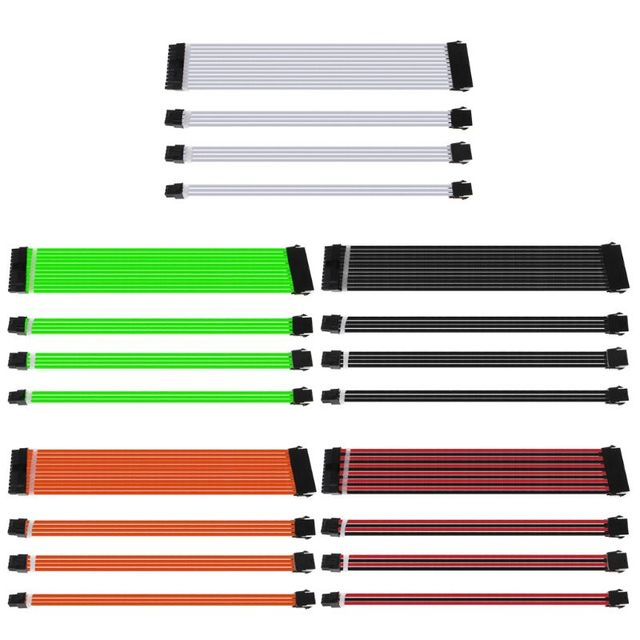 1Set 30cm/40cm A-TX Basic Extension Cable Kit PC GPU CPU Power Supply Sleeved Wire Computer Connectors 24-PIN 8-PIN 6PIN 4+4PIN