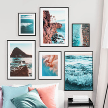 Wall Art Canvas Painting Cliff Coast Miami Summer Beach Seascape Nordic Posters And Prints Pictures For Living Room Decor