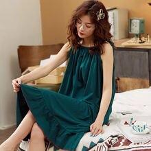 Новая ночная юбка одежда для сна хлопок подтяжки жилет средней