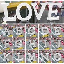 Белые деревянные буквы свободно стоящее Сердце 3D DIY персонализированные имя дизайн деревянные буквы для свадьбы День рождения Декор