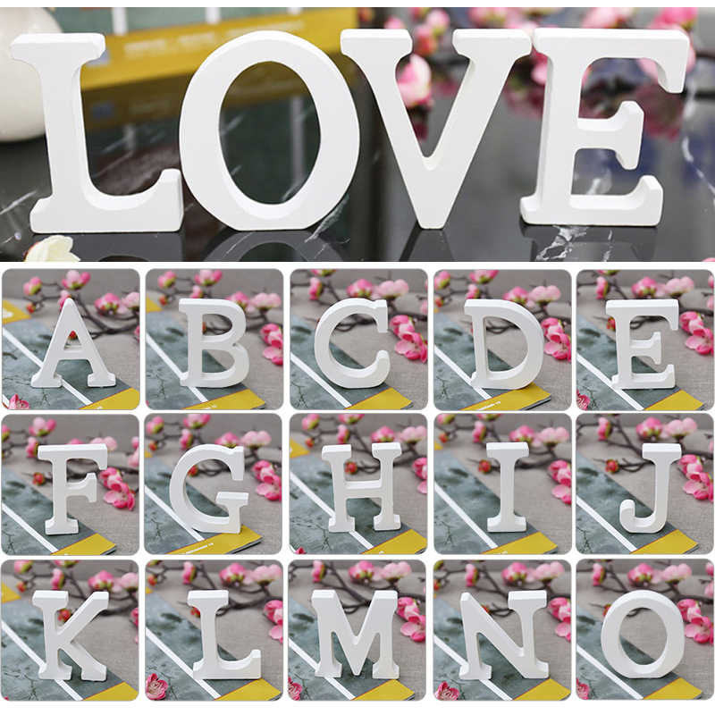 White Wooden Letters Free Standing Heart 3D DIY Personalized Name Design Wood Letter for Wedding Birthday Party Decor