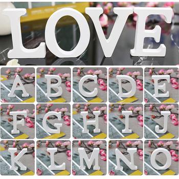 Białe drewniane litery wolnostojący serce 3D DIY spersonalizowana nazwa projekt drewno list na ślub dekoracje na przyjęcie urodzinowe tanie i dobre opinie Drewna