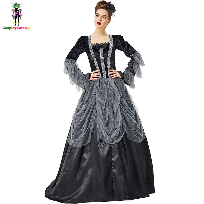US $31.0 |Grey Lady Victorian Ball Gown Costume Womens Halloween Wicked  Vampire Tutu Dress Countess/Dark Princess Costume Plus Size XXL-in Scary ...