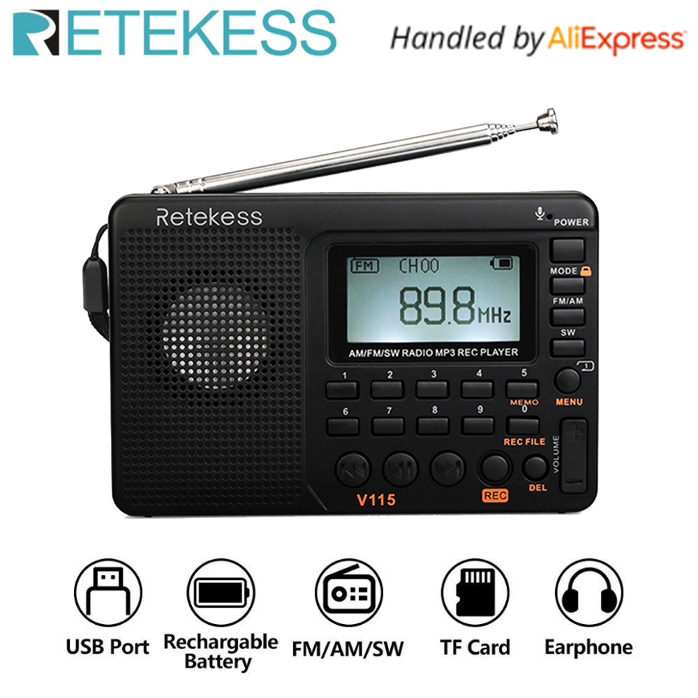 RETEKESS V115 Radio FM AM SW Portable Radio Pocket With USB MP3 Digital Recorder Support Micro SD TF Card Sleep Timer Gift image