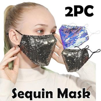 2PC PM2.5 Outdoor Mouth Mask Washable Reuse Face Mask Sequins Protection Mask Fashion Outdoor Sports Mask