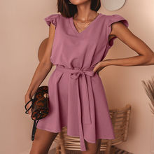 Summer Hot Sales Cotton Short Sleeves Women Dress V-Neck Loose Pure Color Lace-Up Pullovers Commuting Dress