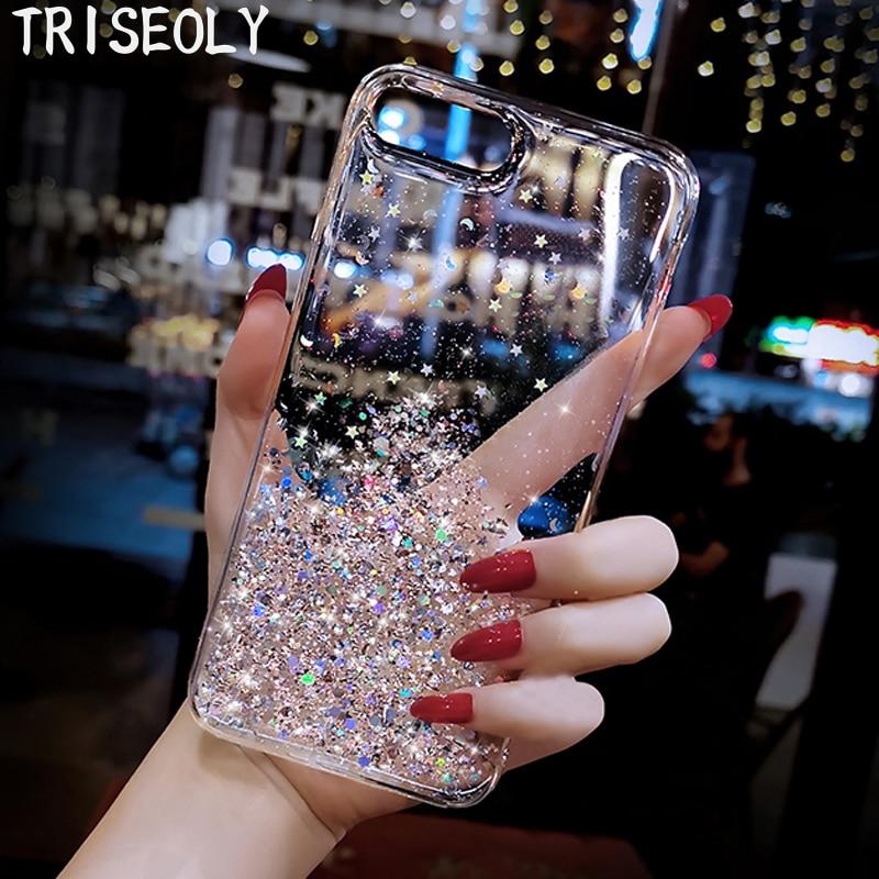 Shiny Cover For Samsung Galaxy A01 A41 A21 A11 A81 A91 A51 A71 5G Transparent Glitter Sequins Case For M31 M30S A10 A50 A60 A90