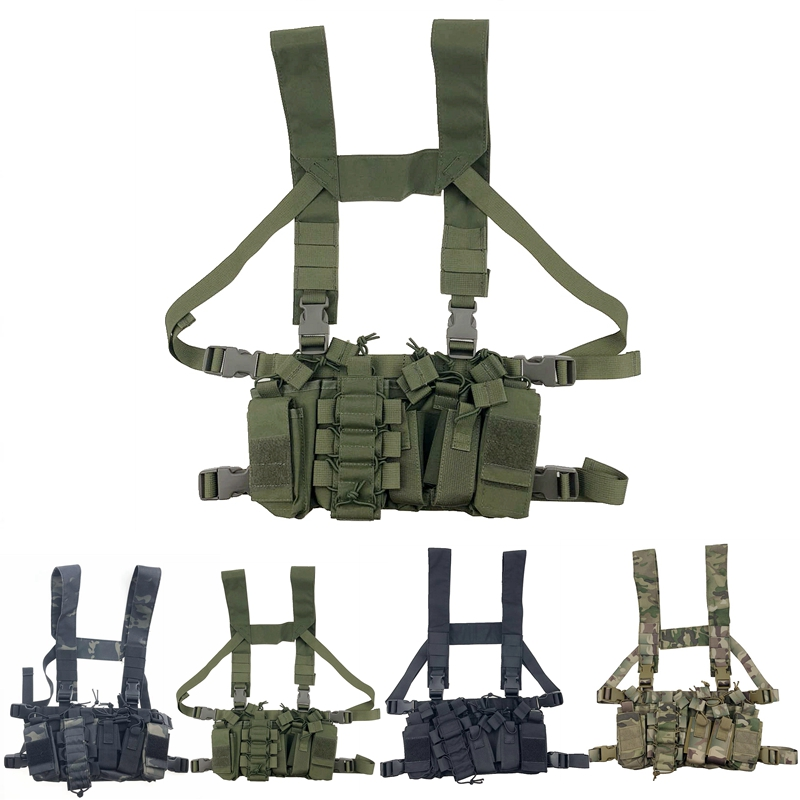 Tactical Chest Rig Bag Radio Harness Front Pouch Holster Military Vest Rig Bag Adjustable Functional Two Way Radio Waist Pouch
