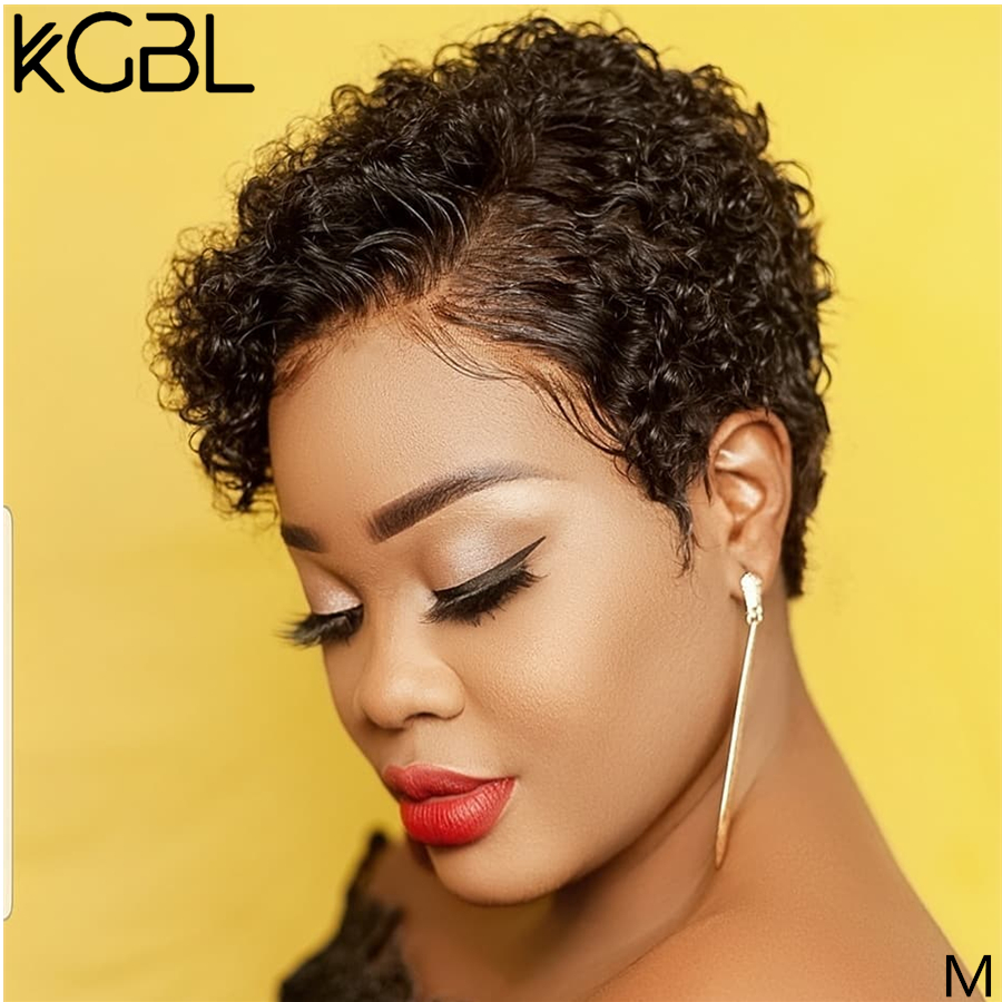 KGBL 13*4 Pixie Curly Lace Front Human Hair Wigs 150% 180% Density With Baby Hair Brazilian Non-Remy Medium Ratio For Women 1