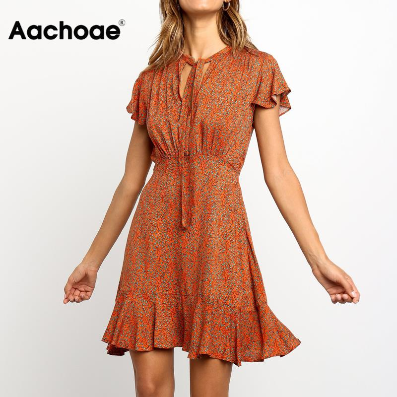 Vintage Floral Print Summer Dress Women Sexy Hollow Out Ruffle Mini Dress Elegant Short Sleeve A Line Party Dress Boho Vestido