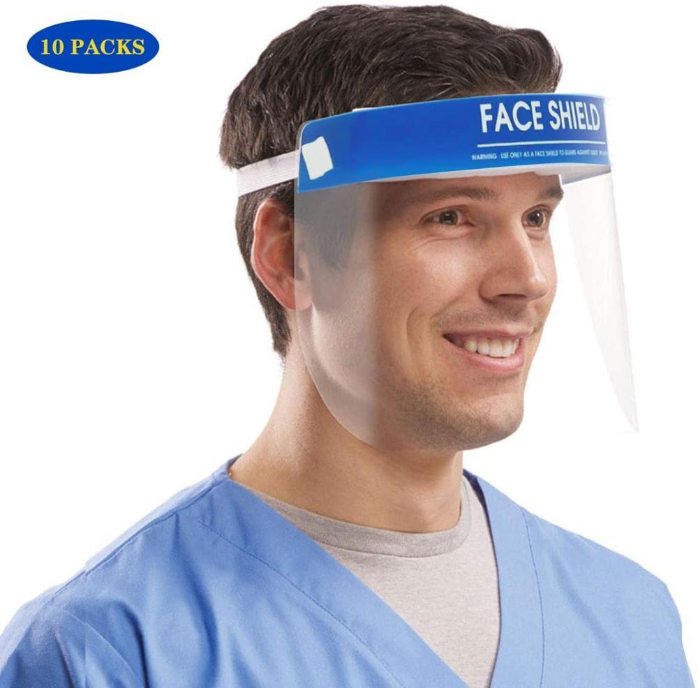 10PCS FDA Certification Transparent Face Shield Safety Protective Mask Anti-Fog Oil-Splash Proof Anti-UV Anti-Shock Safety Mask