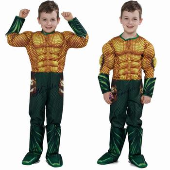 Aquaman Costume Kids Gold Aquaman Muscle Cosplay Costume For Boys Superhero Costumes For Child Baby Halloween Costume For Kids superhero spiderman costumes deadpool costume adult halloween costumes for kids child boys spandex zentai suit carnival avengers