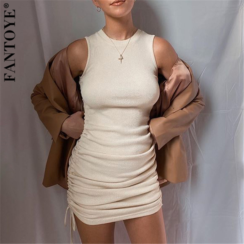 FANTOYE Cotton Ruched Drawstring Sexy Party Dress Women Sleeveless Elastic Mini Dress Vintage Summer Bodycon Club Wear Vestidos 1