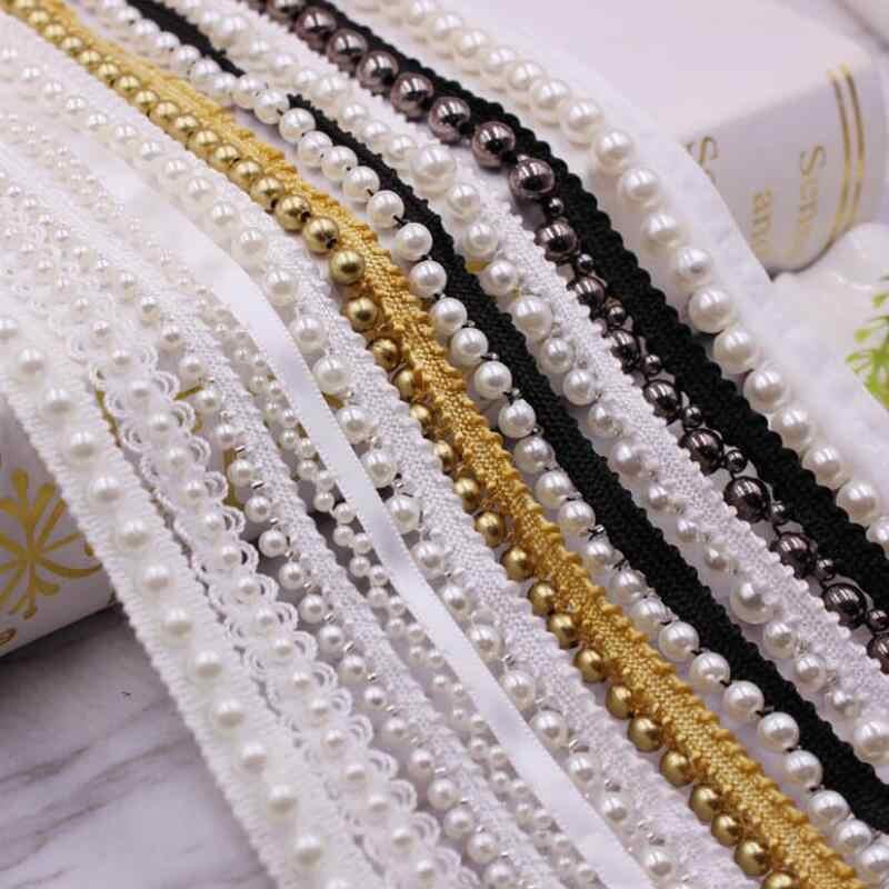 1 rolo/jardas branco/preto pérola frisado laço guarnição fita laço laço africano tecido colarinho cocar vestido costura vestuário