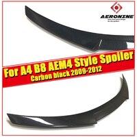 Fit For Audi A4 B8 Spoiler Wing A4a A4Q Look M4 Style Real Carbon Fiber Rear Trunk Spoiler Black High Kich Tail Lip Wing 2009 12