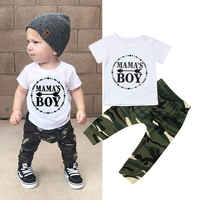 Pudcoco Sommer Neueste ankunft Neugeborenes Baby Kleidung Baumwolle Buchstaben Tops T-Shirt Camouflage Hosen 2Pcs Outfits Sommer Kleidung