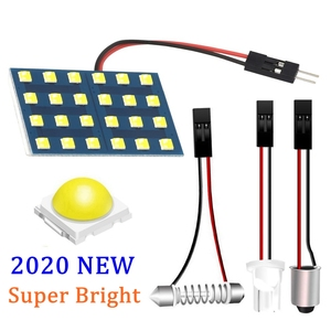 2020 New Super Bright LED Panel Bulb Car Interior Reading Dome Lamp Auto Roof Light With T10 W5W BA9S C5W Festoon 3 Adapter Base