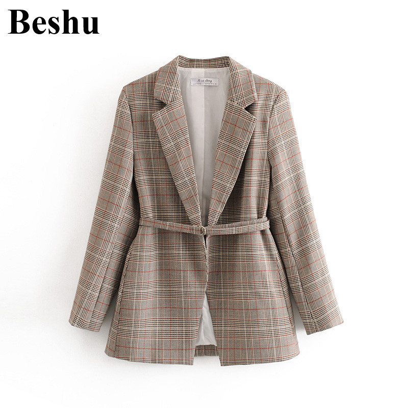 Za 2020 Fashion Blazer Women Khaki Houndstooth Plaid Big Lapel Cardigan Blazer Female Sashes Long Sleeve Vintage Elegant Clothes