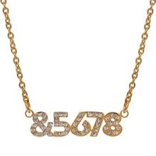 Custom Date Name Necklace Crystal Bling Pendant Charm Stainless Steel Chain Choker for Women Anniversary Birthday Gift