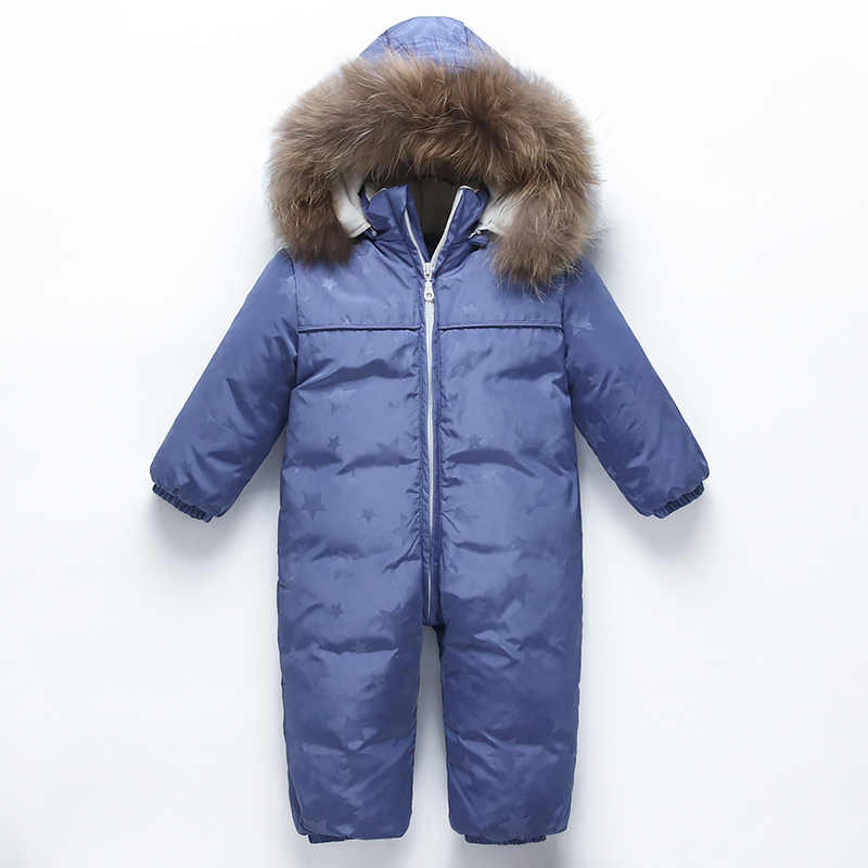 Baby winter down jackets Little boy warm snow suit duck down 90% Children's Siamese Down Jackets Baby windproof ski suit  0-1-2T
