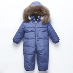 Chaquetas de invierno para bebé, traje de nieve cálido para niño pequeño, plumón de pato 90%, chaquetas Siamesas para niños, traje de esquí a prueba de viento para bebés 0-1-2T