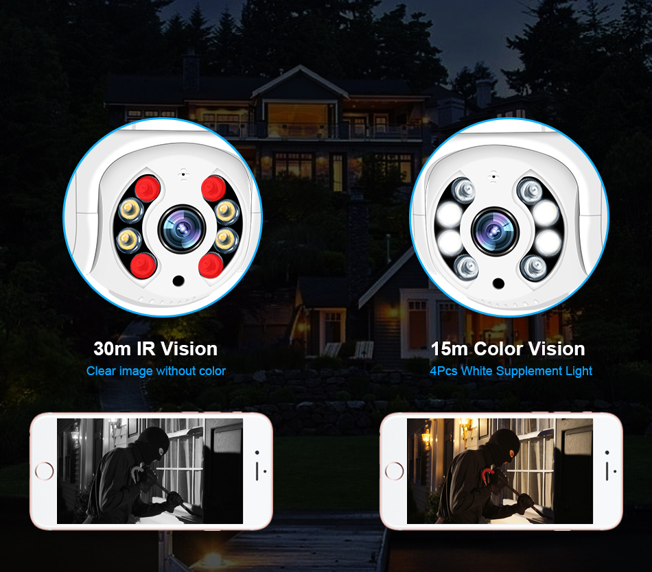 Smar 1080P Outdoor PTZ Wireless IP Camera 4X Digital Zoom Speed Dome Mini WiFi Security CCTV Audio Camera Auto tracking of Human (4)