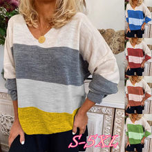 2020 NEW Spring Women Colorblock Striped Printed V Neck Long Sleeve Loose Plus Size T-shirt(China)