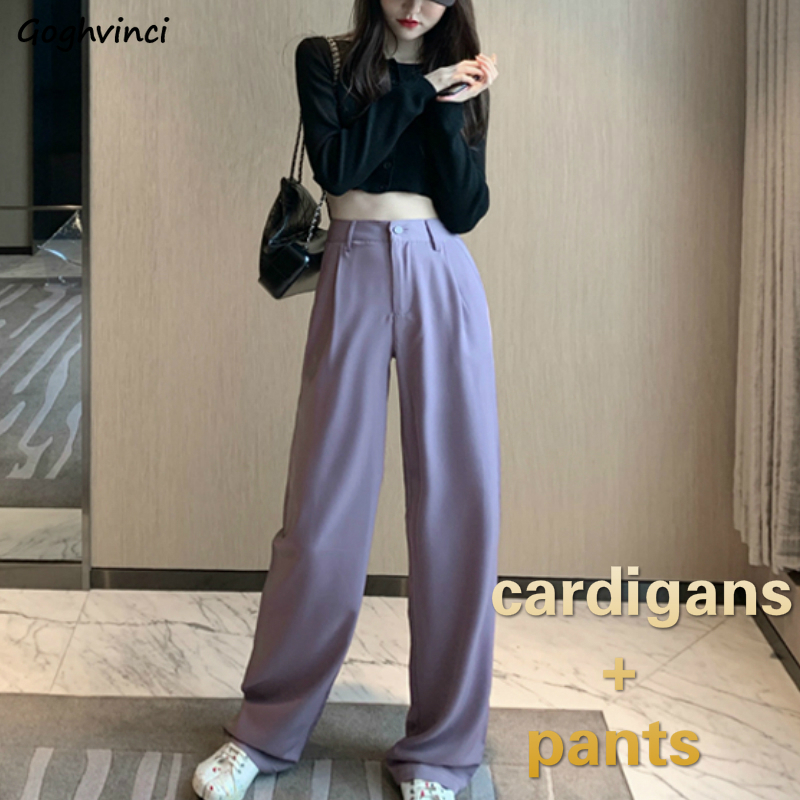 Womens Sets Long Sleeve Solid Knitted Crop Top Sexy Purple High Waist Trousers Chic Streetwear Korean Style Womens 2 Pcs Ulzzang