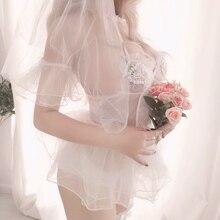 ฮันนีมูนชุดนอนเซ็กซี่ผู้หญิงงานแต่งงาน Hollow OUT Tempting สุทธิผ้าพันคอ Nightdress Suspender กลับที่สวยงามเสื้อผ้า