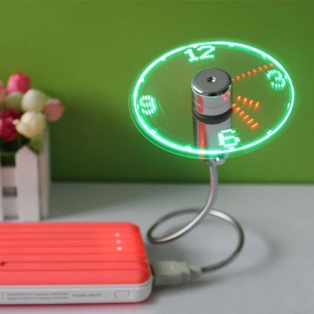 Green New Durable Adjustable USB Gadget Mini Flexible LED Light USB Fan Time Clock Desktop Clock Cool Gadget Time Display