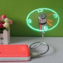 Green New Durable Adjustable USB Gadget Mini Flexible LED Light USB Fan Time Clock Desktop Clock Cool Gadget Time Display