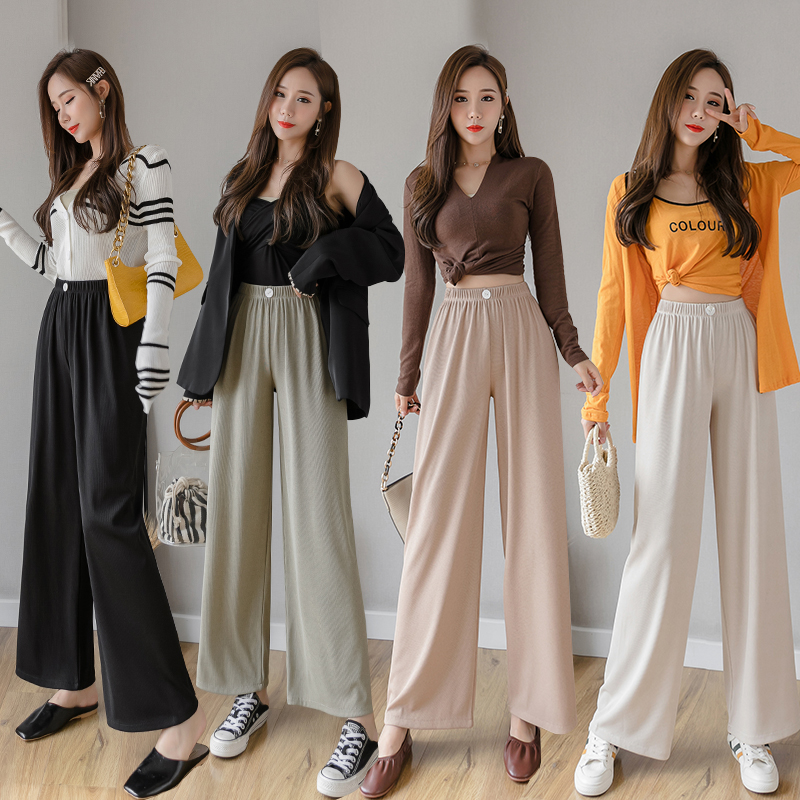Women Wide Leg Pant  2020 Spring Summer Fashion Female Casual Pant Straight Knitting Pants Elastic Waist Solid Loose Trousers