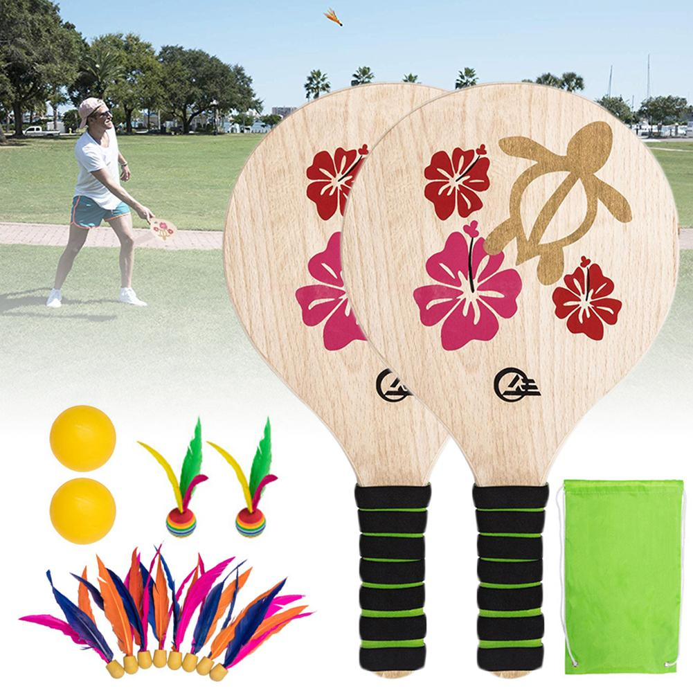Beach Paddle Ball Game Set Beach Paddle Badminton Racket Indoor And Outdoor Badminton Game Battledore For Children Teenagers