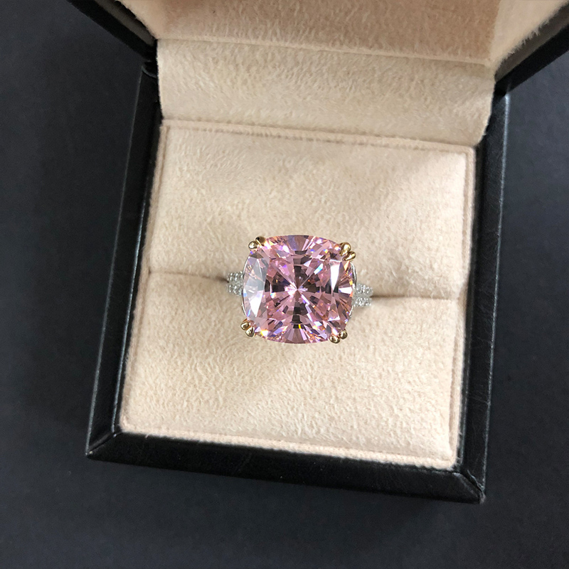 OEVAS 100% 925 Sterling Silver Sparkling Square Pink Yellow White High Carbon Diamond Wedding Rings For Women  Fine Jewery Gifts 8